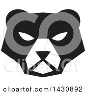 Clipart Of A Black And White Retro American Black Bear Face Royalty Free Vector Illustration by patrimonio