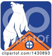 Clipart Of A Retro White Bear On Top Of An Orange House In A Blue Square Royalty Free Vector Illustration
