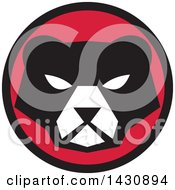 Clipart Of A Retro Black And White Bear Face In A Red And Black Circle Royalty Free Vector Illustration by patrimonio