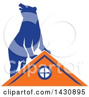Clipart Of A Retro Blue Bear On Top Of An Orange House Royalty Free Vector Illustration