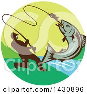 Retro Silhouetted Man Reeling In A Hooked Salmon Fish In A Circle With A River