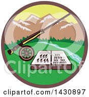 Clipart Of A Retro Fly Box And Rod On Wheel In A Circle With A River And Mountains Royalty Free Vector Illustration