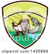 Clipart Of A Retro Silhouetted Man Holding Out A Coffee Mug And Reeling In A Hooked Salmon Fish In A Shield With A River Royalty Free Vector Illustration by patrimonio