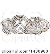 Clipart Of A Retro Urnes Snake Design Royalty Free Vector Illustration