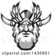 Clipart Of A Retro Face Of Odin With A Beard And Helmet And Bind Over One Eye Royalty Free Vector Illustration