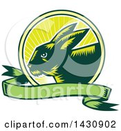Clipart Of A Retro Woodcut Rabbit In A Sunrise Circle With A Green Banner Royalty Free Vector Illustration