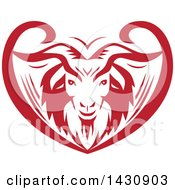 Clipart Of A Retro Red And White Cashmere Goat Head In An Ornate Swirl Heart Royalty Free Vector Illustration by patrimonio