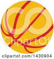Clipart Of A Red And Yellow Basketball Royalty Free Vector Illustration