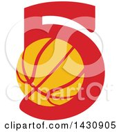 Clipart Of A Retro Yellow And Red Basketball In The Number Five Royalty Free Vector Illustration