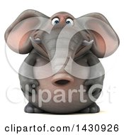 Clipart Of A 3d Elephant On A White Background Royalty Free Illustration