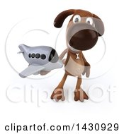 Clipart Of A 3d Brown Chocolate Lab Dog On A White Background Royalty Free Illustration by Julos