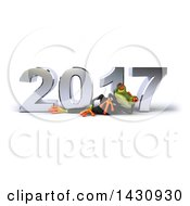 3d Green Business Springer Frog Resting On His Side In Front Of A Chrome New Year 2017 On A White Background