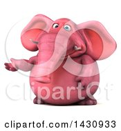 Clipart Of A 3d Pink Elephant Presenting On A White Background Royalty Free Illustration by Julos