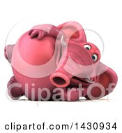 Clipart Of A 3d Pink Elephant Resting On His Side On A White Background Royalty Free Illustration by Julos