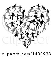 Heart Made Of Black Silhouetted Soccer Players In Action