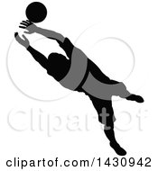 Clipart Of A Black Silhouetted Male Soccer Player Goal Keeper Catching The Ball Royalty Free Vector Illustration