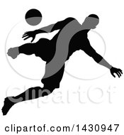 Clipart Of A Black Silhouetted Male Soccer Player In Action Royalty Free Vector Illustration by AtStockIllustration