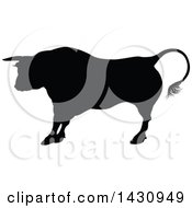 Clipart Of A Black Silhouetted Bull Cow Royalty Free Vector Illustration