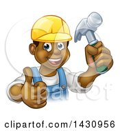 Clipart Of A Cartoon Happy Black Male Carpenter Holding A Hammer And Giving A Thumb Up Royalty Free Vector Illustration by AtStockIllustration