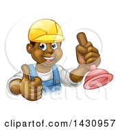 Clipart Of A Cartoon Happy White Male Plumber Holding A Plunger And Giving A Thumb Up Royalty Free Vector Illustration