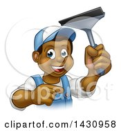 Clipart Of A Cartoon Happy Black Male Window Cleaner In Blue Pointing And Holding A Squeegee Royalty Free Vector Illustration by AtStockIllustration