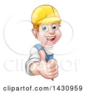 Poster, Art Print Of Cartoon Happy White Male Worker Giving A Thumb Up Around A Sign
