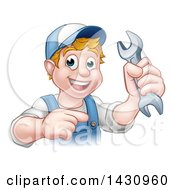 Poster, Art Print Of Cartoon Happy White Male Mechanic Holding Up A Wrench And Pointing