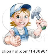 Poster, Art Print Of Cartoon Happy White Female Carpenter Holding A Hammer And Giving A Thumb Up
