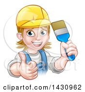 Clipart Of A Cartoon Happy White Female Painter Holding Up A Brush And Giving A Thumb Up Royalty Free Vector Illustration by AtStockIllustration