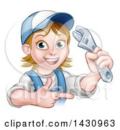 Clipart Of A Cartoon Happy White Female Plumber Holding An Adjustable Wrench And Pointing Royalty Free Vector Illustration