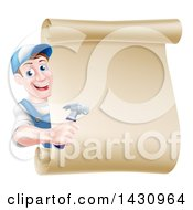 Poster, Art Print Of Happy Middle Aged Brunette Caucasian Worker Man Wearing A Baseball Cap Holding A Hammer And Looking Around A Scroll Sign