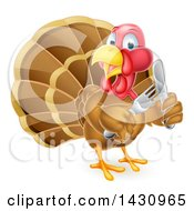 Clipart Of A Thanksgiving Turkey Bird Holding Silverware Royalty Free Vector Illustration by AtStockIllustration