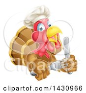 Clipart Of A Thanksgiving Turkey Bird Wearing A Chef Hat And Holding Silverware Upper Body Only Royalty Free Vector Illustration by AtStockIllustration
