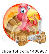 Clipart Of A Thanksgiving Turkey Bird Holding Silverware In A Sunset Circle Royalty Free Vector Illustration by AtStockIllustration