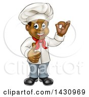Clipart Of A Cartoon Happy Black Male Chef Gesturing Ok Or Perfect And Giving A Thumb Up Royalty Free Vector Illustration
