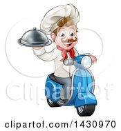Clipart Of A Cartoon Happy White Male Chef Holding A Cloche On A Delivery Scooter Royalty Free Vector Illustration by AtStockIllustration