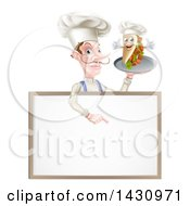 Clipart Of A Cartoon Caucasian Male Chef With A Curling Mustache Holding A Kebab Sandwich On A Tray Pointing Down Over A Blank Menu Sign Royalty Free Vector Illustration