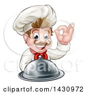Clipart Of A Cartoon Happy Young White Male Chef Holding A Cloche Platter And Gesturing Ok Or Perfect Royalty Free Vector Illustration