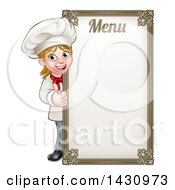 Clipart Of A Happy Young Blond White Female Chef Giving A Thumb Up Around A Menu Board Royalty Free Vector Illustration