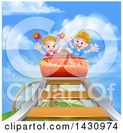Happy White Boy And Girl At The Top Of A Roller Coaster Ride Against A Blue Sky With Clouds