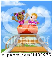 Happy White And Black Girls At The Top Of A Roller Coaster Ride Against A Blue Sky With Clouds