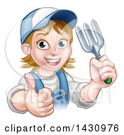 Clipart Of A Cartoon Happy White Female Gardener In Blue Holding A Garden Fork And Giving A Thumb Up Over A Sign Royalty Free Vector Illustration