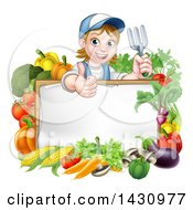 Clipart Of A Cartoon Happy White Female Gardener In Blue Holding A Garden Fork And Giving A Thumb Up Over A White Sign With Produce Royalty Free Vector Illustration