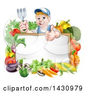 Clipart Of A Young Caucasian Male Gardener In Blue Holding Up A Garden Fork And Giving A Thumb Up Over A Blank White Sign With Produce Royalty Free Vector Illustration