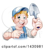Clipart Of A Cartoon Happy White Male Gardener In Blue Holding A Garden Trowel And Pointing Royalty Free Vector Illustration