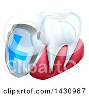 Clipart Of A 3d White Tooth And Gums With A Blue And Silver Protective Dental Shield Royalty Free Vector Illustration by AtStockIllustration
