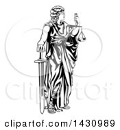 Clipart Of A Black And White Blindfolded Lady Justice Holding Scales And A Sword Royalty Free Vector Illustration by AtStockIllustration