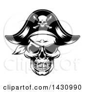 Clipart Of A Black And White Skull Wearing An Eye Patch And Pirate Hat Royalty Free Vector Illustration by AtStockIllustration
