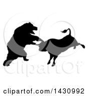 Clipart Of A Black Silhouetted Stock Market Bull And Bear Fighting Royalty Free Vector Illustration