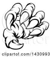 Poster, Art Print Of Black And White Lineart Monster Claw With Sharp Talons